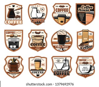 Coffee, cafe and cafeteria restaurant signs. Vector isolated icons of coffee machine, Turkish cezve and grinder mill, cappuccino or americano and espresso hot steam cups