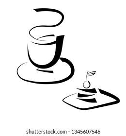 Coffee and cake. Graphics.