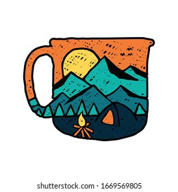 Coffee camping nature wild badge patch pin graphic illustration vector art t-shirt design