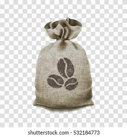 Coffee canvas bag on a transparent background.
