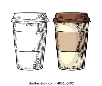Coffee with cap and cup holder. Hand drawn sketch style. Vintage color vector engraving illustration for label, web, flayer. Isolated on white background