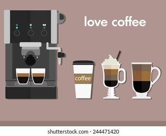 Coffee - cappuccino, mocha. Vector illustration. Flat
