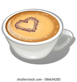 Coffee cappuccino with a picture in the shape of a heart in porcelain cup isolated on a white background. Cartoon vector close-up illustration.