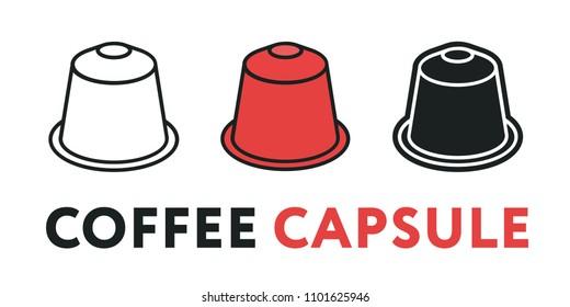 Coffee Capsule Espresso Machine Flavor Minimal Color Flat Line Icon