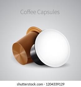 Coffee in Capsules for Espresso Machine. Vector