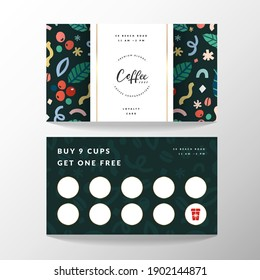 Coffee card, loyalty card for coffee shop with place for collecting stamps, vector template with logo and doodle illustrations, modern simple design, good for cafe.