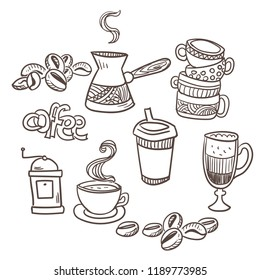 coffee cezve vector sketch design elements