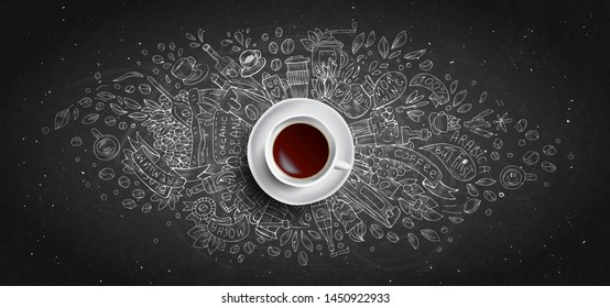 Coffee chalk illustrated concept on black board background - white coffee cup, top view with chalk doodle illustration about coffee, beans, morning, espresso in cafe, breakfast. Morning coffee vector