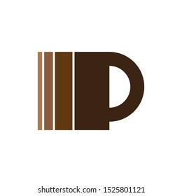 Coffee or Chocolate Cup with MP letter logo design vector