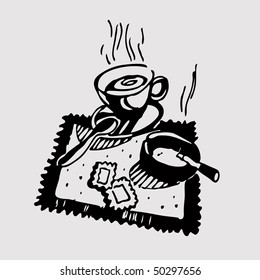 Coffee and cigarettes done in woodcut style.