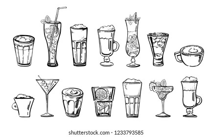 Coffee and cocktail drinks set. Hand drawn outline cartoon vector sketch. Black on white background