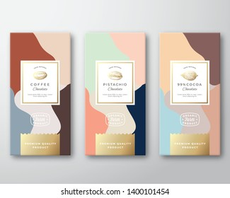 Coffee, Cocoa and Pistachio Chocolate Labels Set. Abstract Vector Packaging Design Layout with Realistic Shadows. Modern Typography, Hand Drawn Beans and Nut Silhouettes, Colorful Background. Isolated