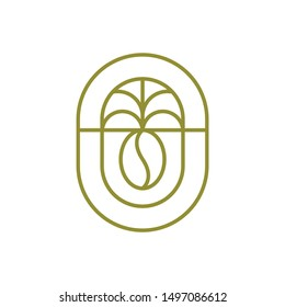 Coffee and Coconut Logo Template, Coffee bean and palm line art logo design .vector