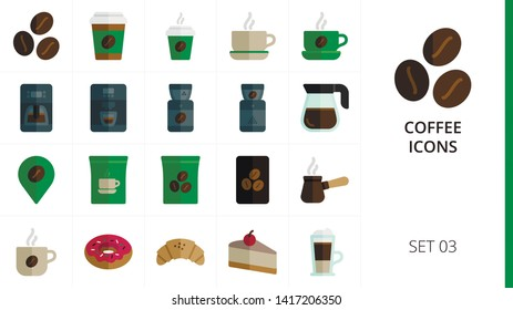 Coffee color flat icons set. Set of coffee beans, coffee paper cup with steam, latte, donut, croissant, cheesecake, cafeteria menu, cafe location flat color icons.