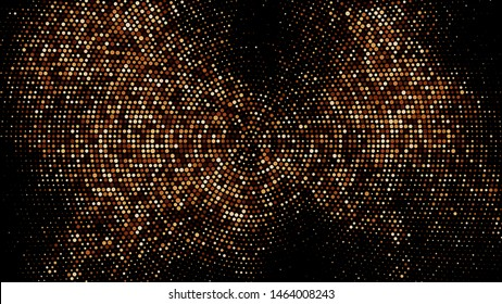 Coffee Color Halftone Dotted Backdrop. Abstract Circular Retro Pattern. Pop Art Style Background. Chocolate Shades Explosion of Confetti. Digitally Generated Image. Vector Illustration, EPS 10.