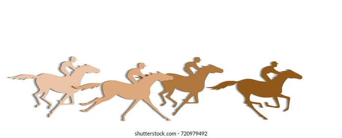 Coffee color horse race with shadows background. Galloping horseback riders with brown color. Horseracing winner, vector banner.