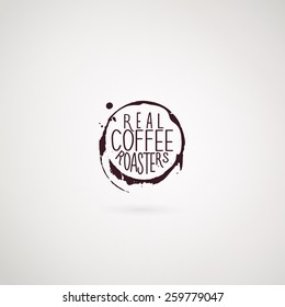 Coffee company logo. Grunge style. Use like logo element, website or business card decoration. Vector illustration EPS10.