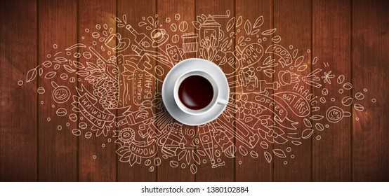 Coffee concept on wooden background - white coffee cup, top view with doodle illustration about coffee, beans, morning, espresso in cafe, breakfast. Morning coffee vector illustration. Hand draw and