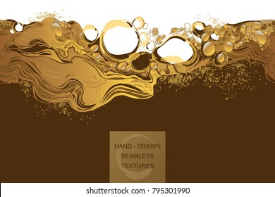Coffee, cosmetic, bubbles abstract background Seamless Pattern with golden splash. Hand-drawn vector texture.