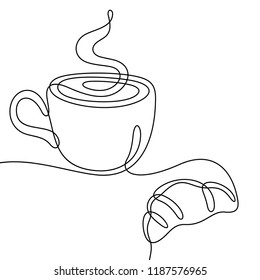 Coffee and croissant continuous line sketch