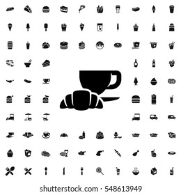 coffee and croissant icon illustration isolated vector sign symbol