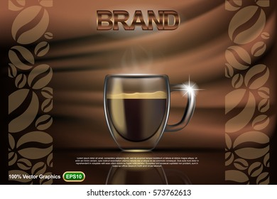 Coffee cup adv, mock up template, with abstract background in 3d illustration