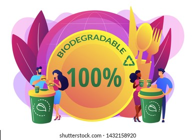 Coffee cup alternative zero waste material. Biodegradable disposable tableware, microplastic free straws, biodegradable plates and bowls concept. Bright vibrant violet vector isolated illustration