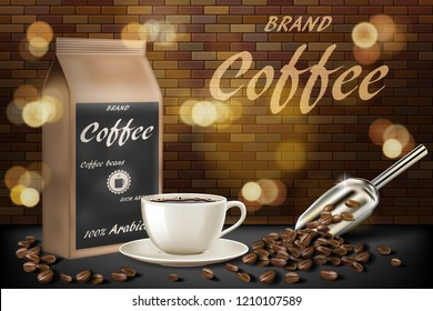 coffee cup with beans ads. 3d illustration of hot arabica coffee mug. Product paper bag package design with brick background. Vector