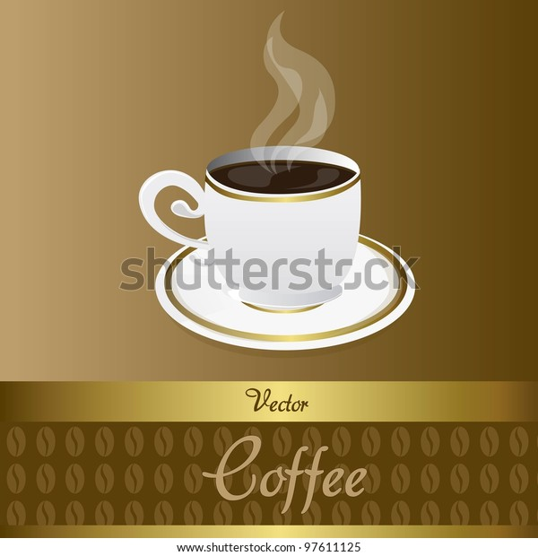 Coffee Cup Coffee Beans Background Brown Stock Vector