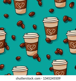 Coffee cup with coffee beans seamless pattern on green background. Background for cafe menu concept.