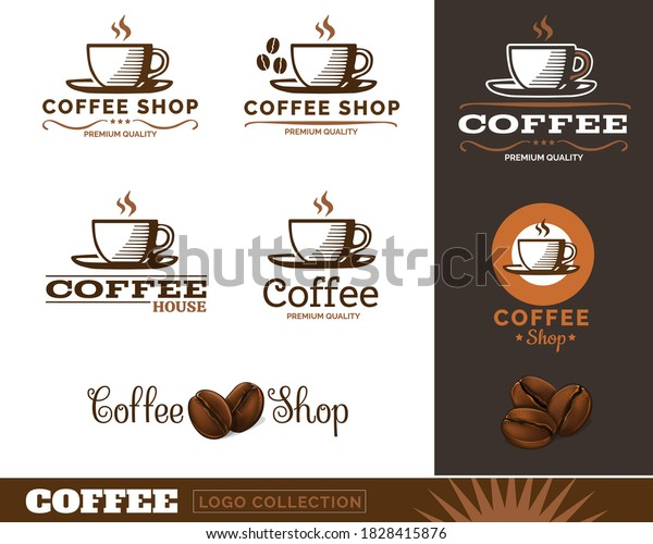 Coffee cup and coffee beans Vintage logos. Vector Illustration.