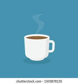 Coffee cup with blue background flat design vector illustration