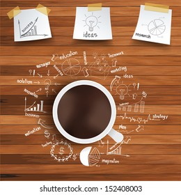 Coffee cup and business strategy on wooden table, Vector illustration modern template design