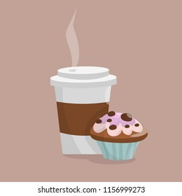 Coffee cup with cap and steam and delicious fresh muffin capcake. Vector isolated illustration in cartoon style
