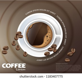 Coffee cup card Vector realistic. Product placement mock up. Dark beans, coffee background. top view 3d illustration