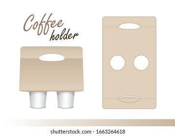 Coffee cup carton holder with die cut. Vector paper pack holder mockup. Cardboard coffee cup holder takeaway cut and fold for your design