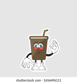 coffee cup cartoon characters design with expression. you can use for stickers, pins or patches