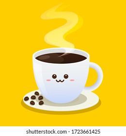 Coffee cup character design. Cartoon of fresh Coffee. Vector Illustration. Flat Style. Decorative Design for Cafeteria.