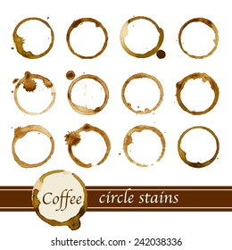 Coffee cup circle stains - vector illustration