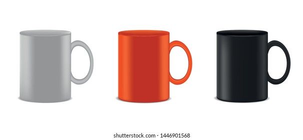 Coffee Cup Collection - Realistic Vector Illustration - Isolated On White Background
