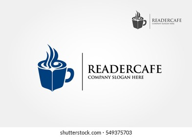 Coffee cup concept reading. Vector logo illustration
