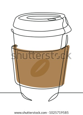 Coffee Cup Continuous Line Vector