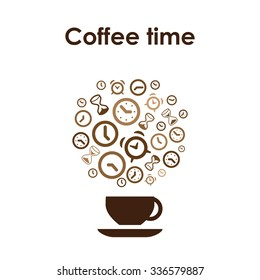 Coffee cup design vector icon for coffee shop or cafe or coffee lovers with clocks and alarms and Coffee Time lettering
