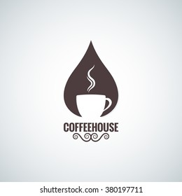 coffee cup drop logo vector background