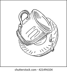 coffee cup, drops and saucer. vector hand drawn sketch illustration
