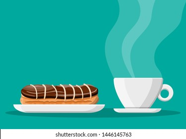 Coffee cup and eclair cake. Coffee hot drink. Concept for cafe, restaurant, menu, desserts, bakery. Breakfast view. Vector illustration in flat style