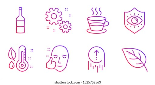 Coffee cup, Eye protection and Thermometer line icons set. Wine, Swipe up and Healthy face signs. Work, Leaf symbols. Tea mug, Optometry. Business set. Gradient coffee cup icon. Vector