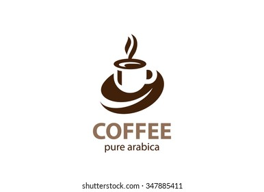 Coffee cup foam Logo design vector template. Hot drinks mug Logotype concept icon.