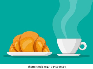 Coffee cup and french croissant. Coffee hot drink. Concept for cafe, restaurant, menu, desserts, bakery. Breakfast view. Vector illustration in flat style