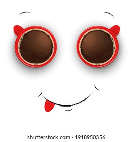 Coffee cup with froth in the form of smiley face. Good mood and vivacity for active day.